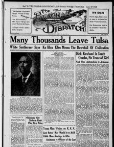 Front page Black Dispatch, June 17, 1921